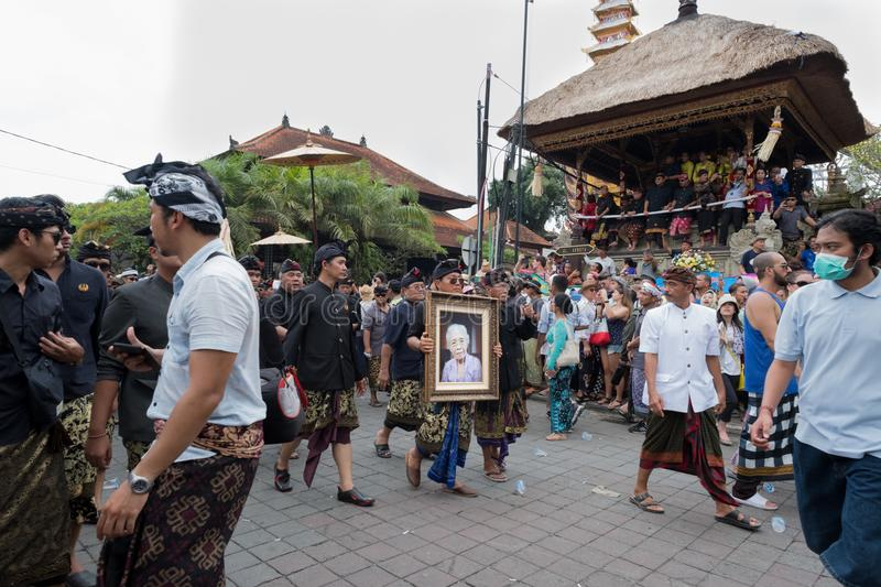 Framed photo of Anak Agung Niang Agung carried during her funeral and cremation in Ubud, Bali 2nd March 2018 stock image