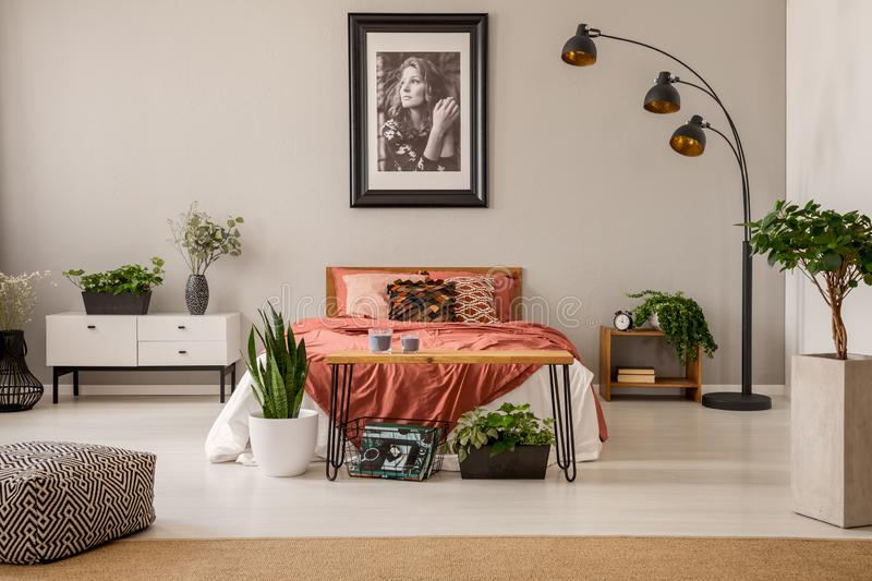 Framed poster of beautiful girl above king size bed with rust color bedding in spacious bedroom interior of modern apartment. Real photo royalty free stock images