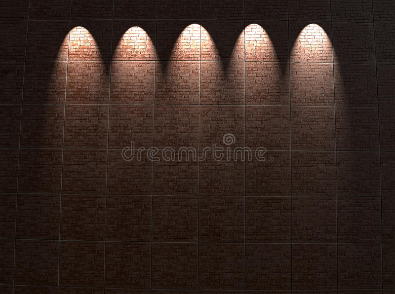 Framed red brick wall lighting, architecture, stock photo