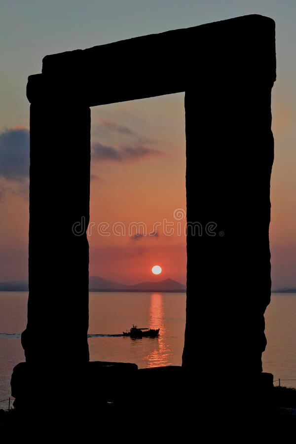 Framed sunset on water royalty free stock photo