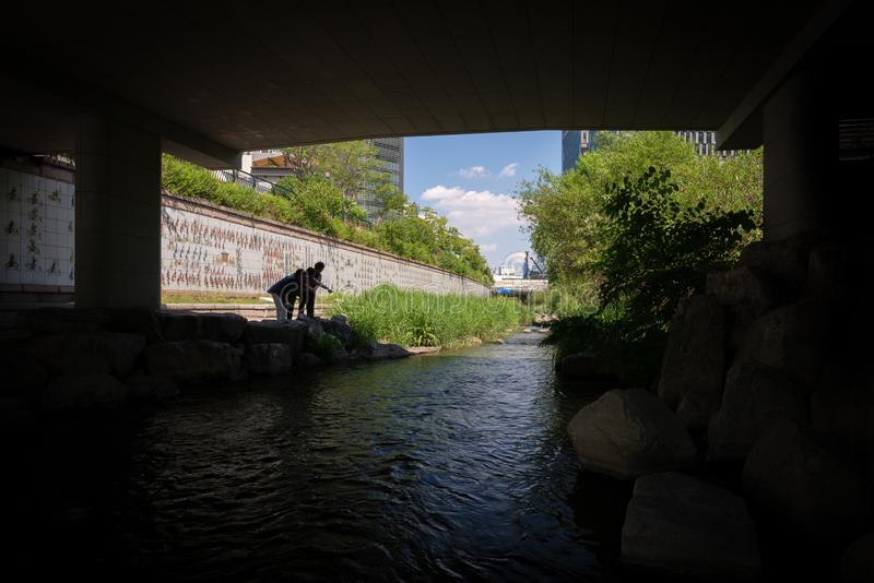 A framed view on the Cheonggyecheon stream, with a group of women royalty free stock photo