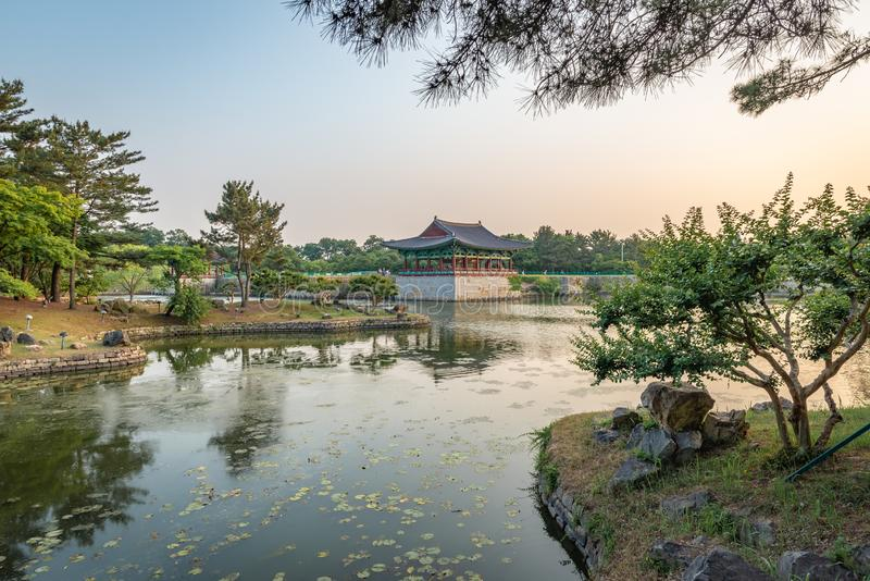 Framed view of one pavilion of the Donggung Palace and the Wolji Pond. Shot at sunset, Gyeongju, South Korea stock images