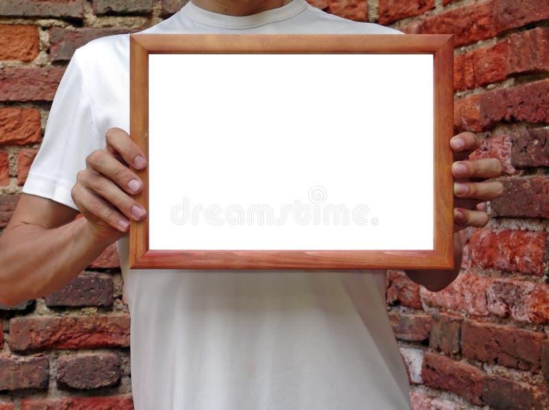 Framein hands stock photo