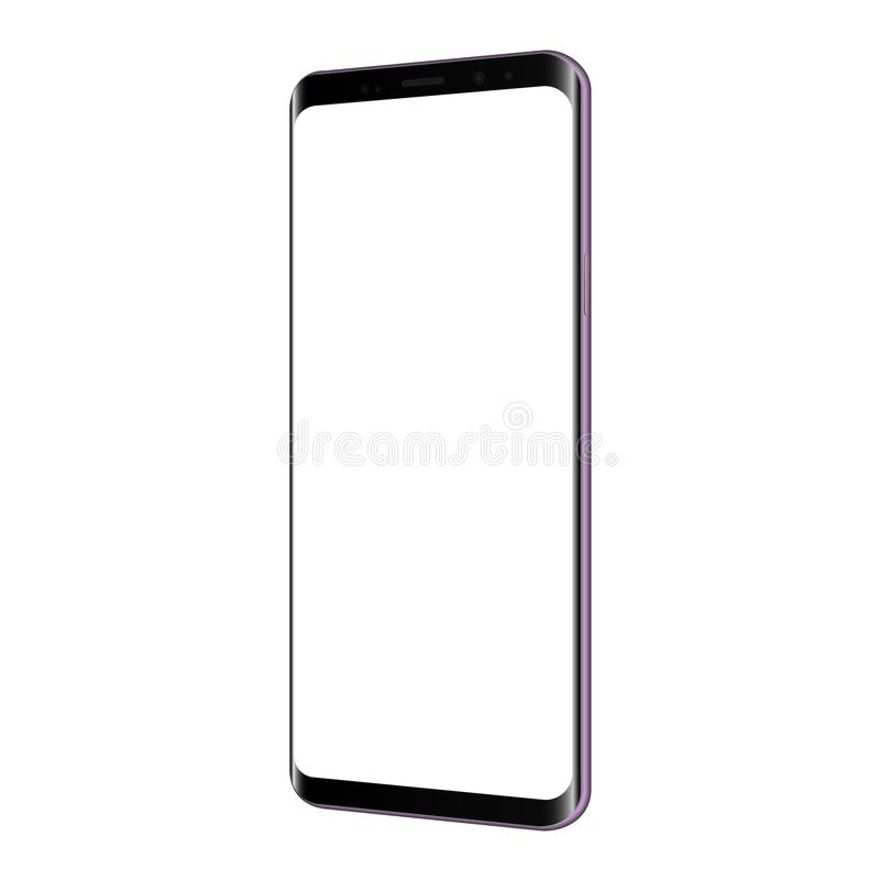 Frameless violettes Smartphonemodell mit dem leeren Bildschirm lokalisiert stock abbildung