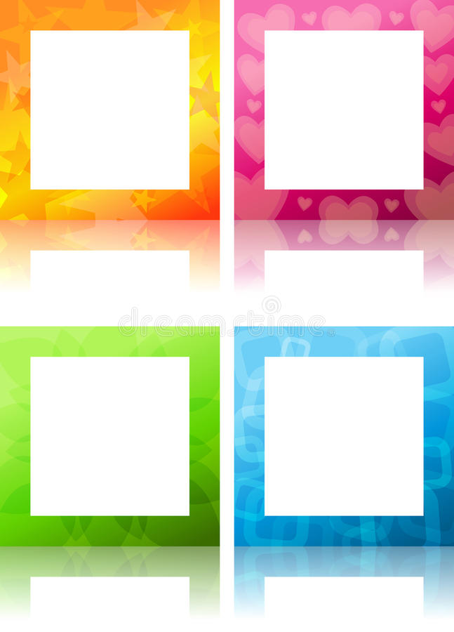 Frames. Four colorful square frames themed for stars love nature and... blue royalty free illustration