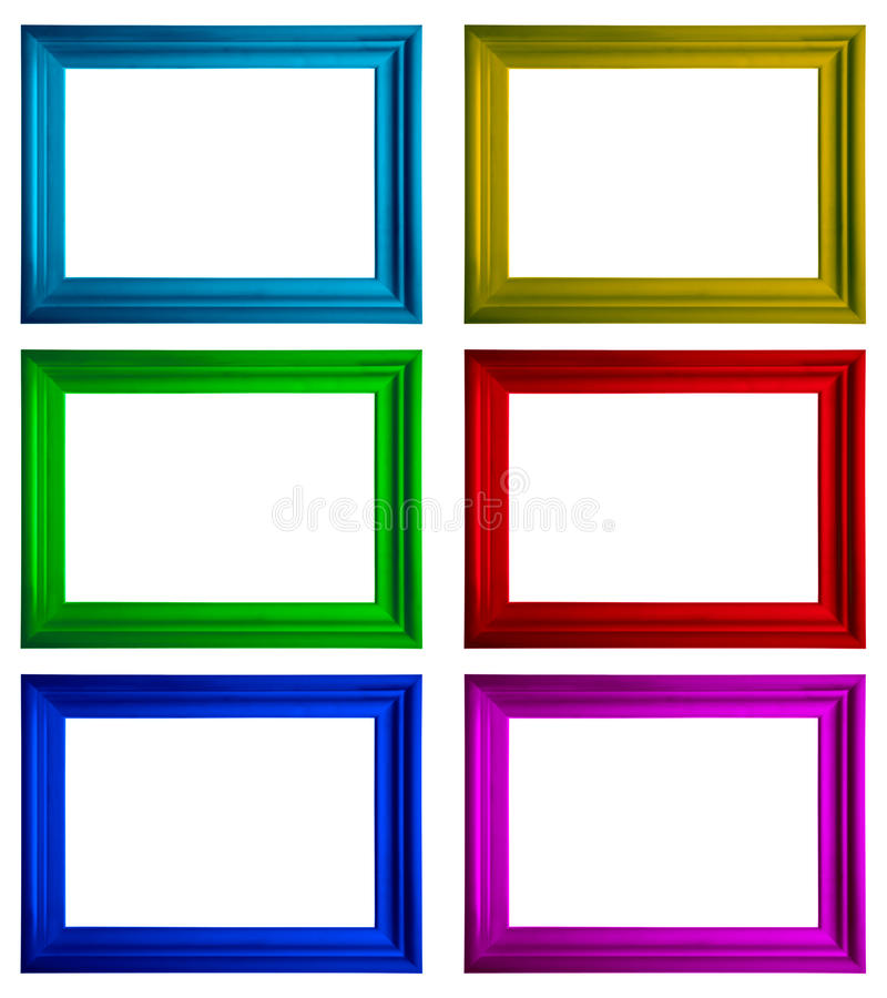 Frames. Modern multicolored frames with copy-space on a white background royalty free stock photos