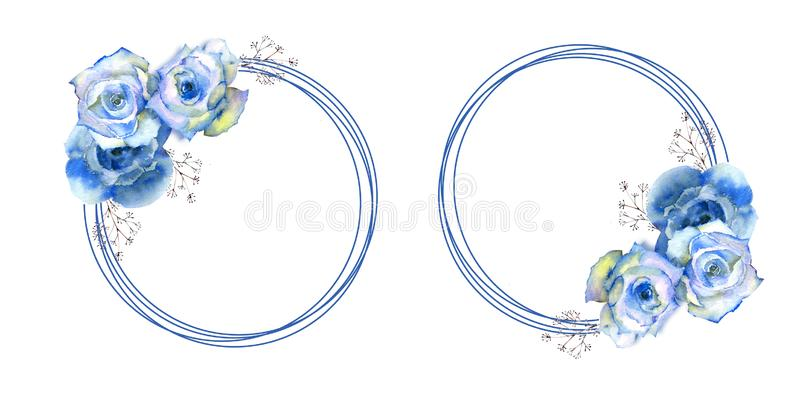 2 frames with blue rose flowers on round frame on white isolated background. Bouquet on top and bottom. Vector illustration vector illustration