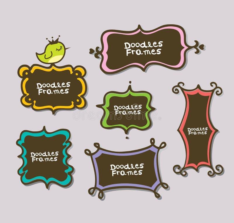 Frames bonitos do doodle ilustração do vetor