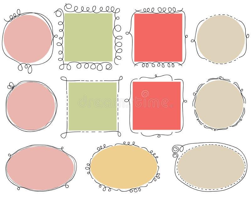 Frames bonitos do doodle ilustração royalty free