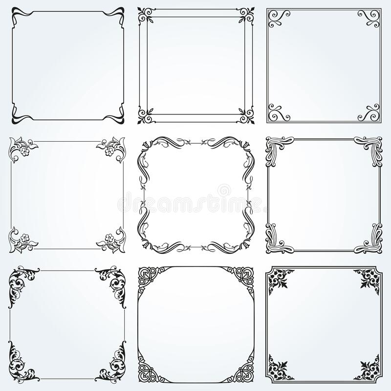 Frames and borders square decorative set vector stock images