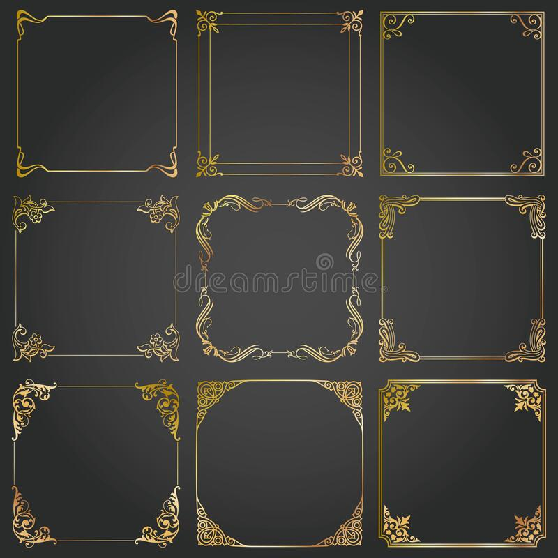 Frames and borders square decorative set vector stock image