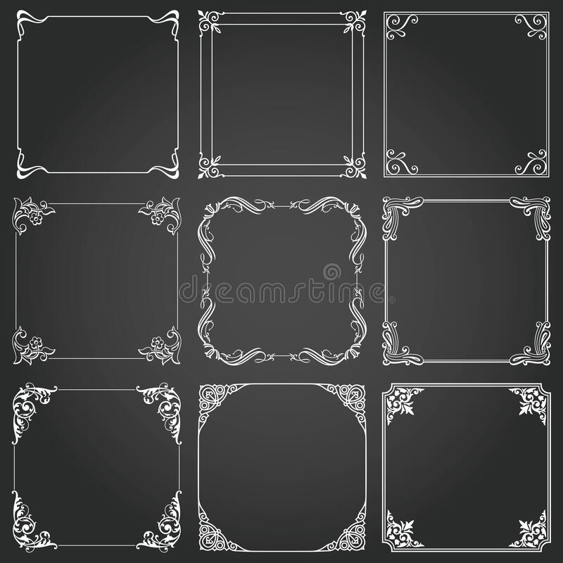 Frames and borders square decorative set vector royalty free stock image