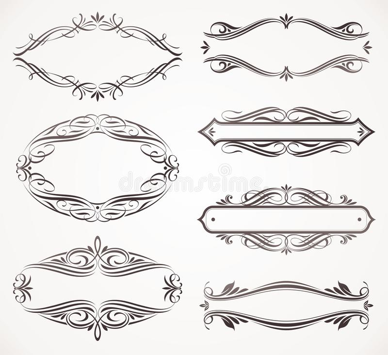 Frames caligráficos ilustração royalty free