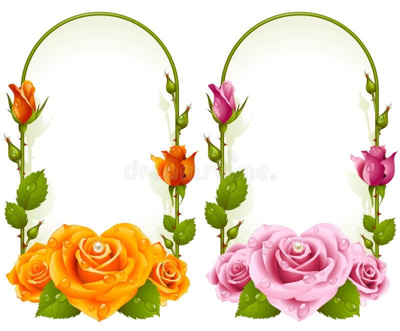 Frames cor-de-rosa do vetor no fundo branco ilustração royalty free