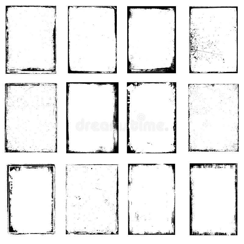Frames da borda de Grunge ilustração do vetor