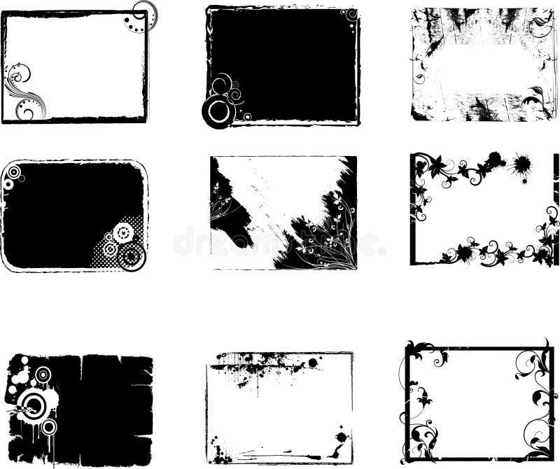 Frames de Grunge ajustados ilustração do vetor