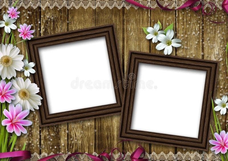 Frames de madeira da foto sobre o fundo da madeira do grunge ilustração stock