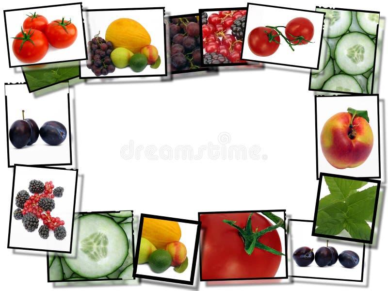 Frames de película com imagens do alimento fresco ilustração do vetor