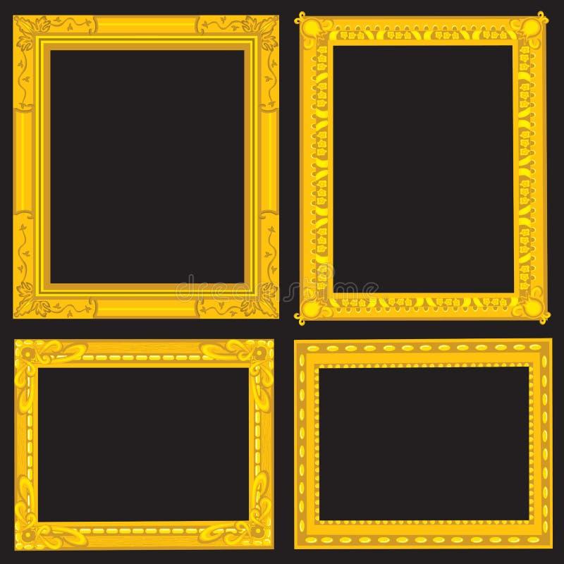 Frames de retrato extravagantes do ouro ilustração stock