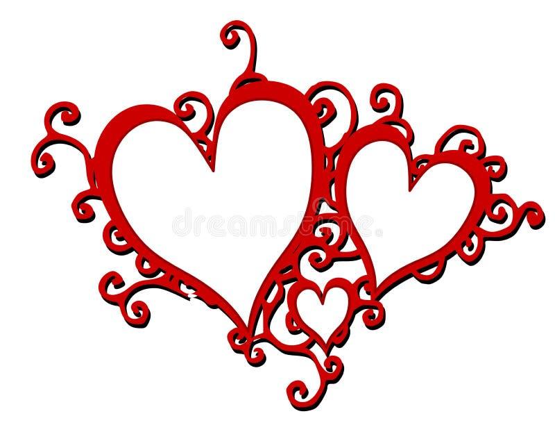 Frames de roda vermelhos decorativos dos corações ilustração do vetor