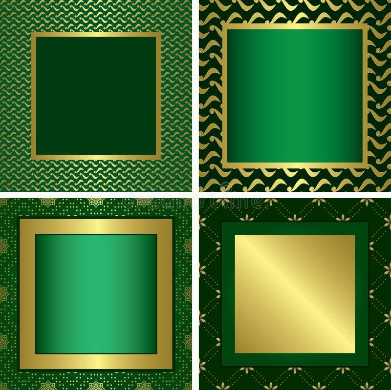 Frames decorativos dourados verdes ilustração do vetor