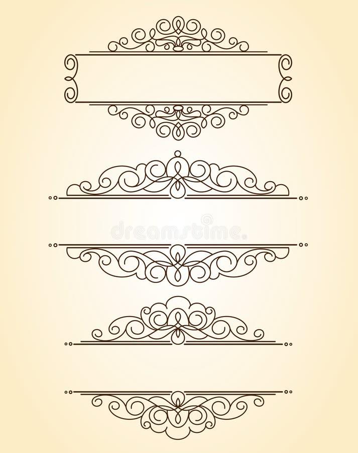 Frames decorativos vintage Poço construído para a edição fácil ilustração royalty free
