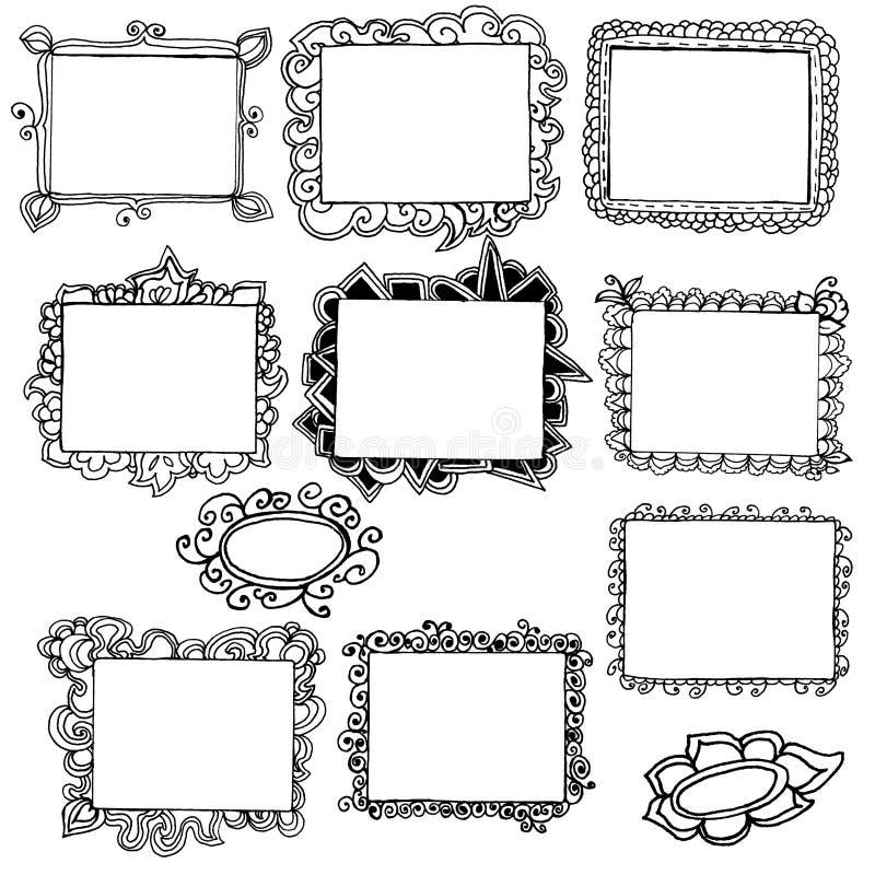 Frames desenhados mão ilustração stock