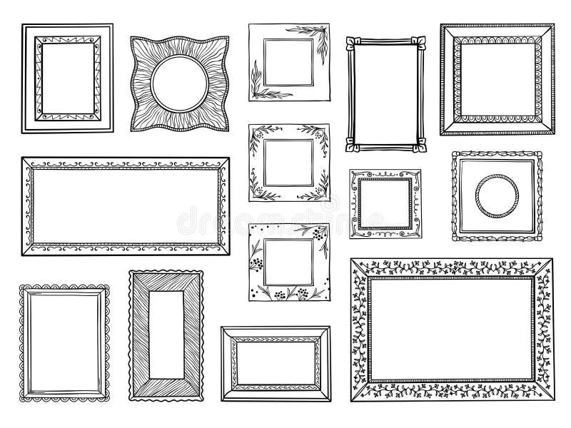 Frames desenhados mão Pensionistas do quadrado e do círculo da garatuja, formas decorativas do esboço do vintage Garatuja do veto ilustração do vetor