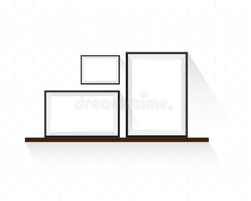 Frames design on brown shelves with white color wall. Flat style for interior stock illustration