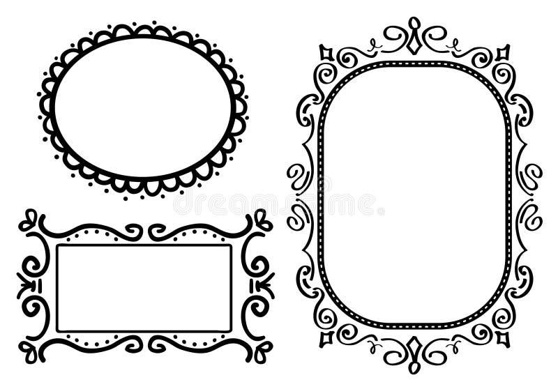 Frames do Doodle ilustração royalty free