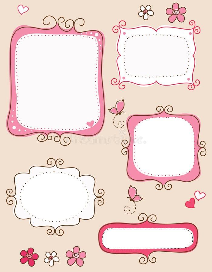 Frames do Doodle ilustração stock