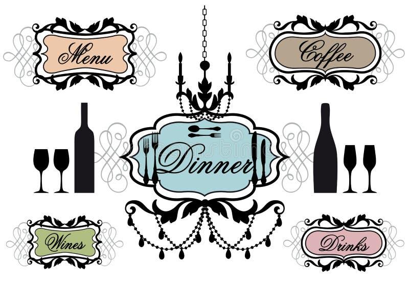 Frames do menu para o restaurante ilustração stock