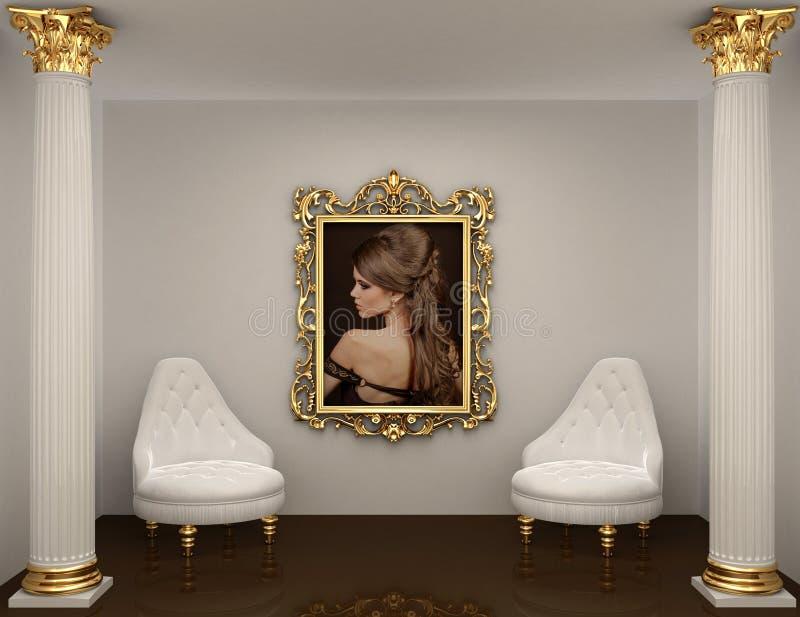 Frames do ouro com retrato da mulher na parede ilustração do vetor