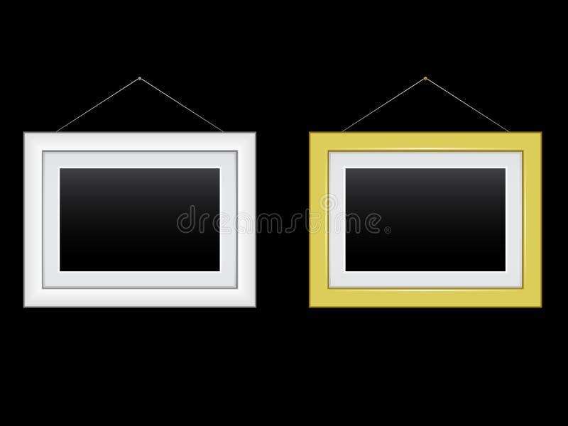 Frames do ouro e da prata ilustração stock