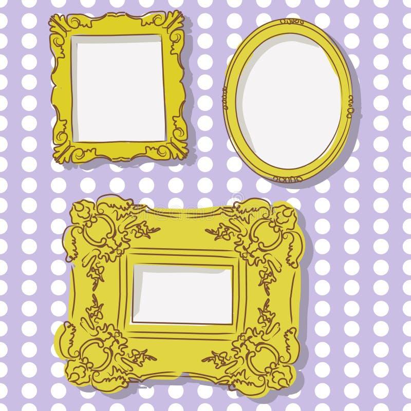 Frames do ouro na parede ilustração stock