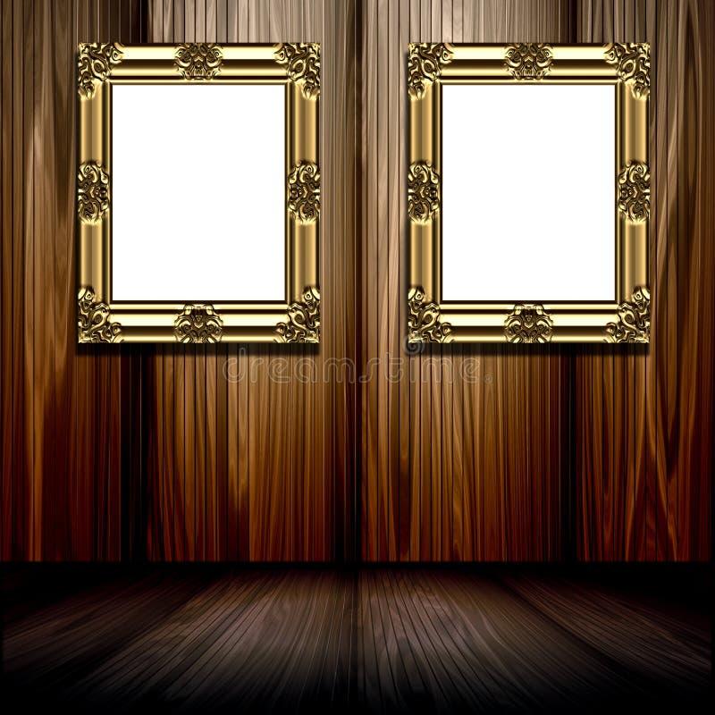 Frames do ouro no quarto de madeira ilustração royalty free