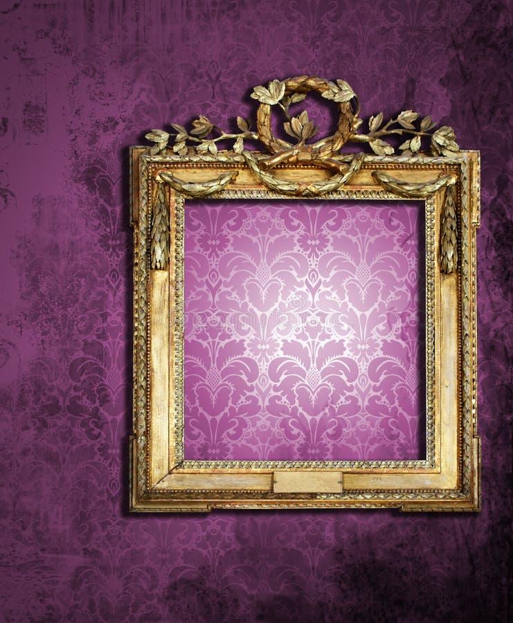 Frames do ouro, papel de parede retro ilustração stock