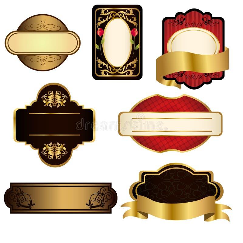 Frames do preto e do ouro ilustração stock