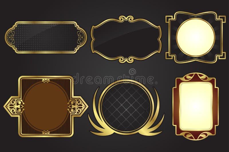 Frames do preto e do ouro ilustração do vetor