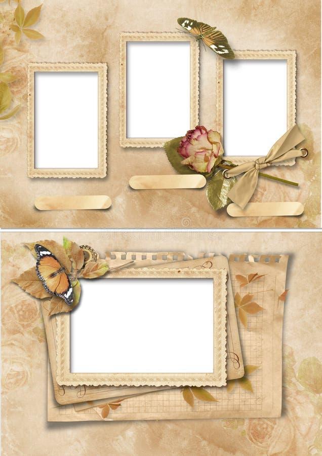 Frames do vintage ajustados. Álbum da família ilustração stock
