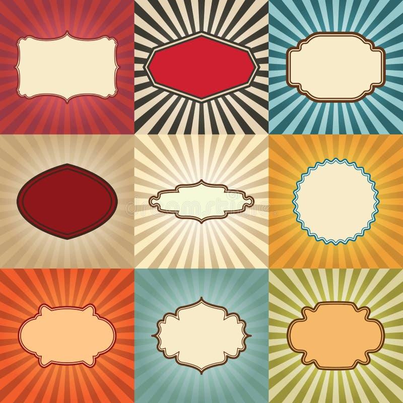 Frames do vintage ajustados ilustração do vetor
