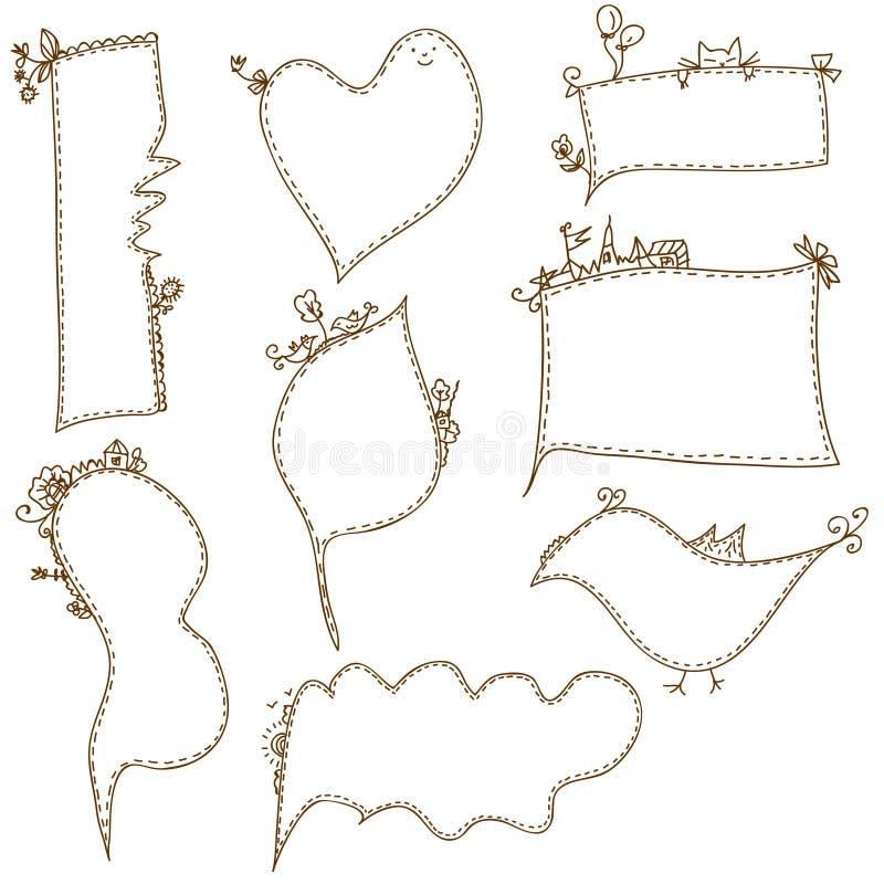Frames doodle funny set vector illustration