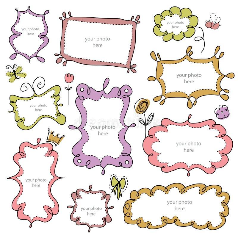 Frames dos Doodles ilustração stock