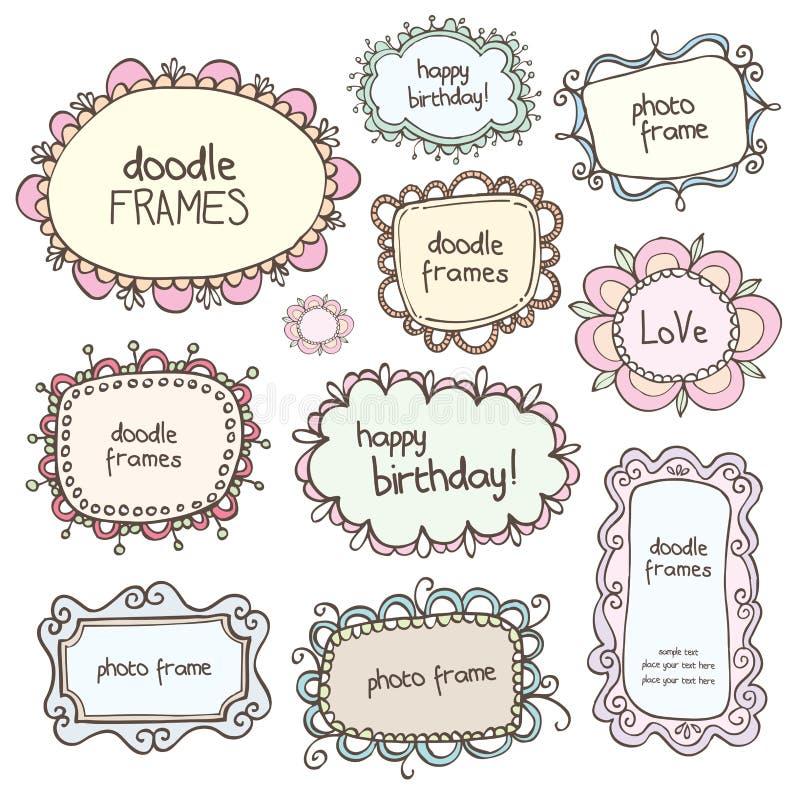 Frames dos Doodles ilustração royalty free