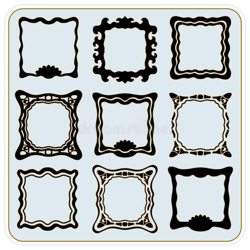 Frames dourados do vintage do vetor ilustração royalty free