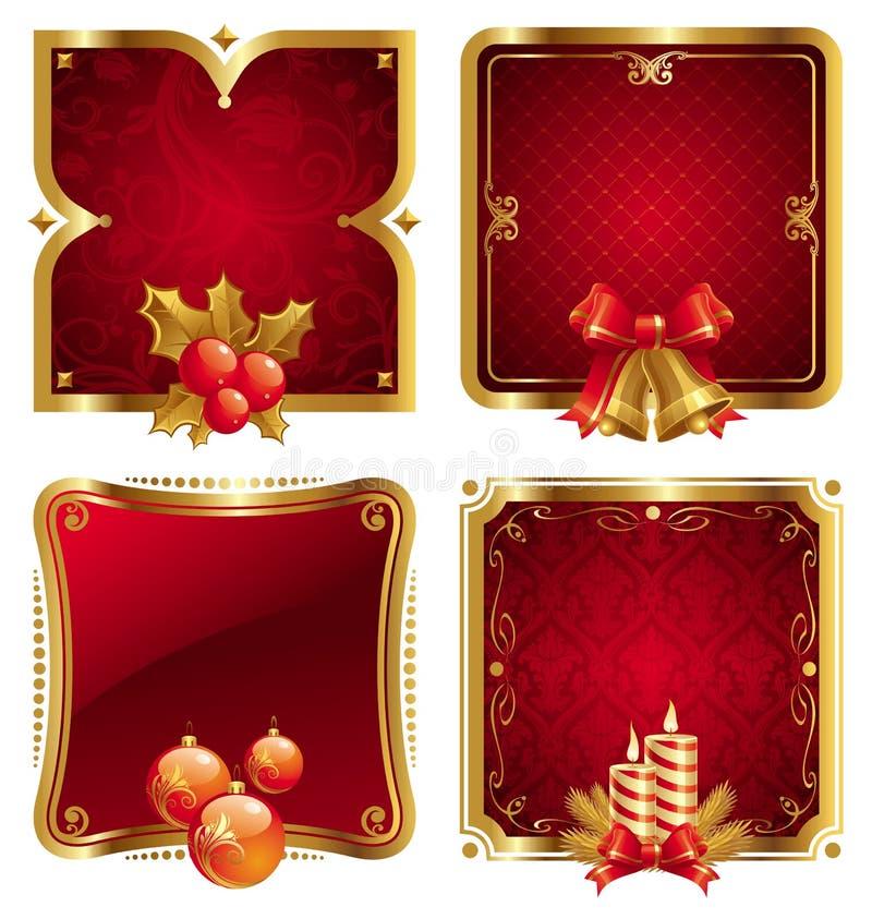 Frames dourados luxuosos do Natal & de ano novo ilustração do vetor