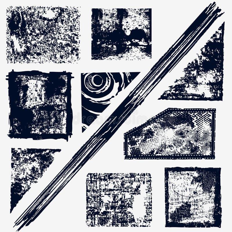Frames e bandeiras de Grunge   ilustração stock