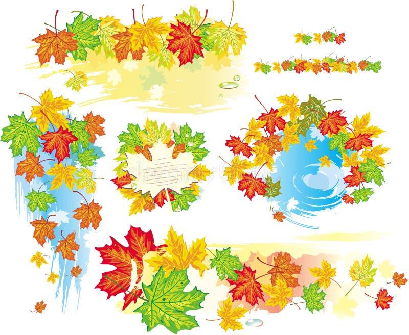 Frames e bandeiras do outono das folhas ilustração do vetor