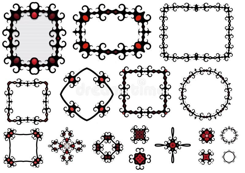 Frames e componentes de Goth ilustração stock