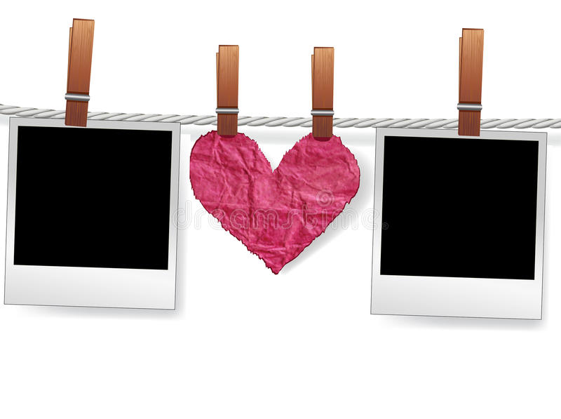 Frames e coração da foto na corda ilustração royalty free